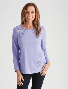 Millers Long Sleeve Embroidered Crew Neck Top
