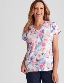 Millers Short Sleeve Printed V-Neck Slub Top