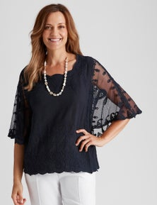 Millers Extended Sleeve Embroidered Crinkle Top