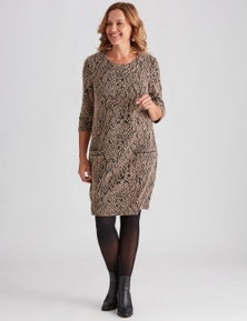 Millers Elbow Sleeve Animal Jaquard Knit Dress