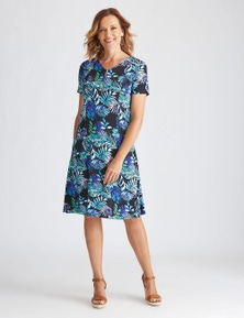 Millers Short Sleeve Midi Tropical Dress