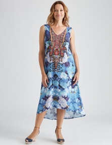 Millers Sleeveless WOW Blue Floral High Low Dress