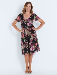Millers Short Sleeve Floral Split Front Midi Dress
