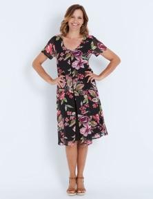 Millers Short Sleeve Floral Split Front Midi Dress