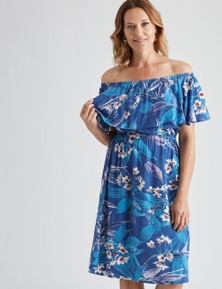 Millers Extended Sleeve Frill Overlay Blue Floral Midi Dress