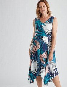 Millers Sleeveless Hanky Hem Palm Midi Dress