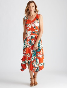 Millers Sleeveless Hanky Hem Floral Midi Dress