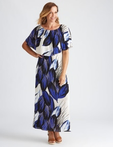 Millers Extended Frill Overlay Abstract Maxi Dress