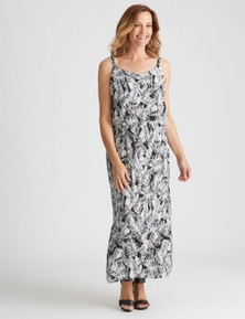 Strappy Overlay Printed Maxi Dress