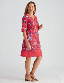 Millers Cotton Knee Length Notch Neck Dress