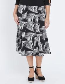 Millers A-Line Palm Print Midi Skirt