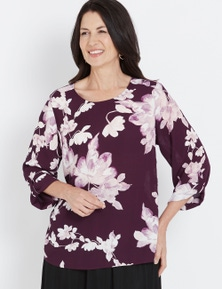 Millers Long Drag Up Sleeve Plum Floral Blouse