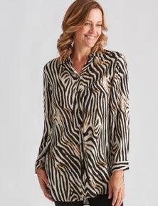 Millers Long Sleeve Longline Zebra Shirt
