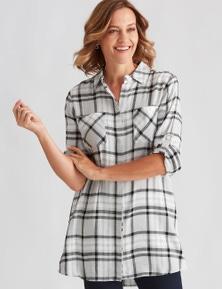Millers Long Sleeve Longline Check Shirt