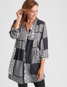 Millers Long Sleeve Button Through Mono Print Longline Shirt