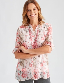 Millers 3/4 Sleeve Drag Up Button Up Crinkle Blouse