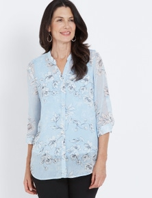 Millers 3/4 Sleeve Button Up Crinkle Blouse