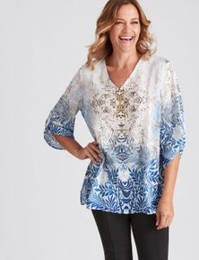 Millers 3/4 Sleeve Chain Print Sublimation Blouse