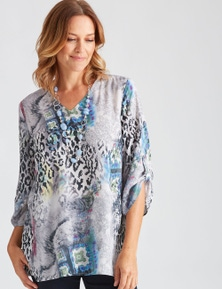 Millers 3/4 Sleeve Silver Leopard Sublimation Blouse