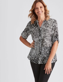 Millers Long Sleeve Nehru Collar Mono Skin Georgette Shirt
