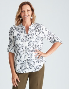 Millers 3/4 Sleeve Nehru Neck Floral Shirt