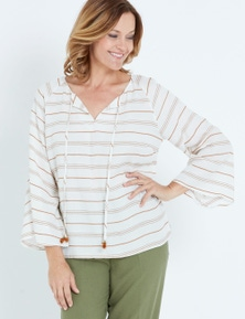 Millers 3/4 Sleeve Slub Stripe Peaseant Top