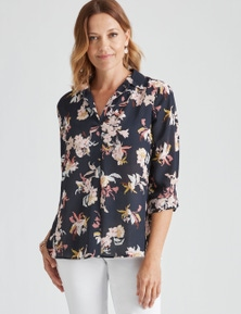 Millers 3/4 Sleeve Navy Floral Collared Blouse
