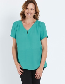 Millers Short Sleeve Turquoise Georgette Blouse