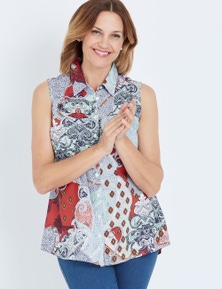 Millers Sleeveless Rayon Mixed Print Blouse