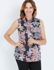 Millers Sleeveless Rayon Navy Paisley Blouse