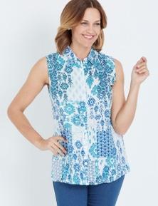 Millers Blue Ikat Print Sleeveless Rayon Shirt