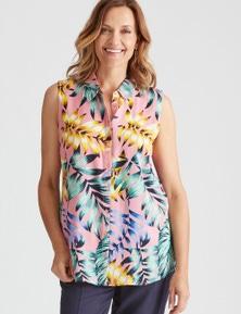 Millers Sleeveless Print Rayon Shirt