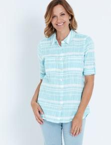 Millers 3/4 Sleeve Yarn Dye Stripe Shirt