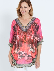 Millers Extended Sleeve Half Circle Red Animal Kaftan