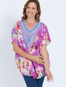 Millers Extended Sleeve Circular Hibiscus Print Kaftan