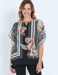 Millers Extended Sleeve Scarf Print Overlay Top
