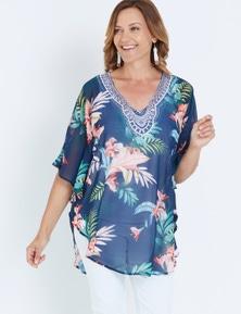 Millers Extended Sleeve Tropical Print Kaftan