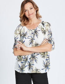 Millers 3/4 Sleeve Palm Peasant Blouse