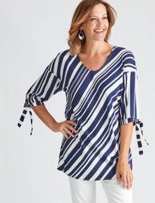 Millers Variegated Stripe 3/4 Sleeve Top