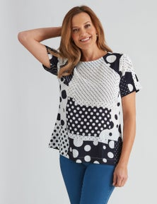 Millers Short Sleeved Printed Bubble Blouse