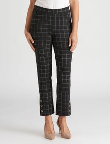 Millers FL check Bengaline pant with button trim