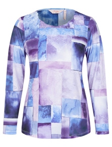 Millers Long Sleeve Printed Top with Neck Trim