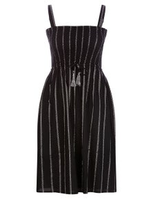 Millers Strappy Shirred Bust Embroidered Midi Dress