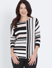 3/4 SLV STRIPE TOP