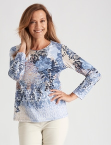 Millers Long Sleeve Floral Placement Scoop Neck
