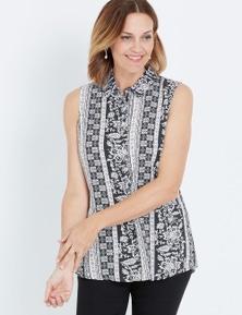 Millers Linear Print Sleeveless Rayon Shirt