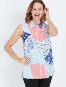 Millers Blue Multi Print Sleeveless Rayon Shirt