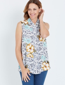 Millers Multi Tile Print Sleeveless Rayon Shirt