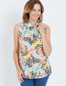 Millers Multi Animal Print Sleeveless Rayon Shirt