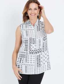 Millers Mono Print Sleeveless Rayon Shirt